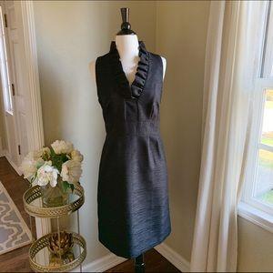Ann Taylor's Ruffle Neck Knee Length Black Dress 8